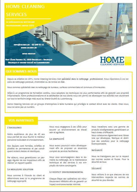 Brochure Home Cleaning Services - société de nettoyage